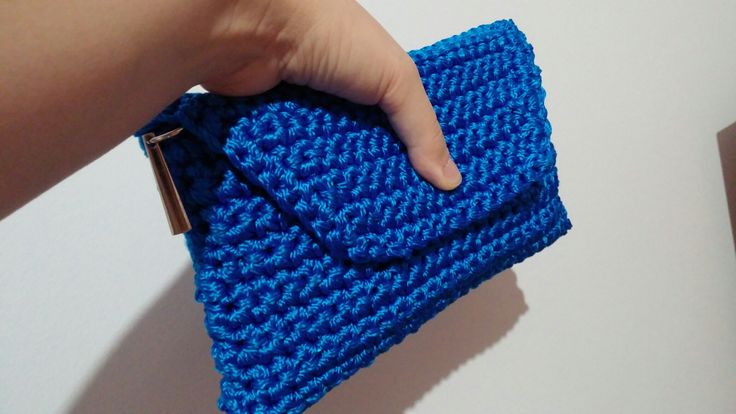 Crochet blue bag