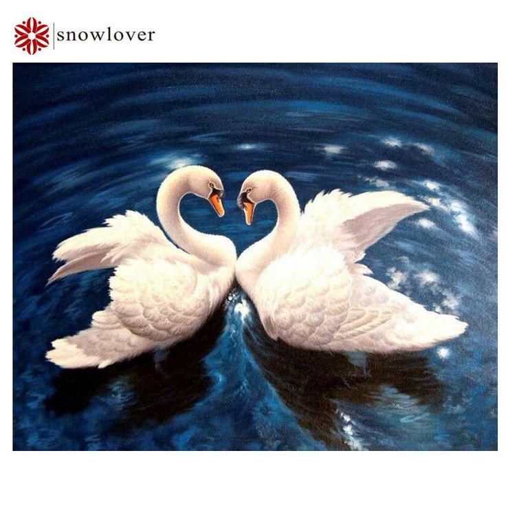 3d diy diamond embroidery painting animal  Swans, love 20*25 см. #snowlover