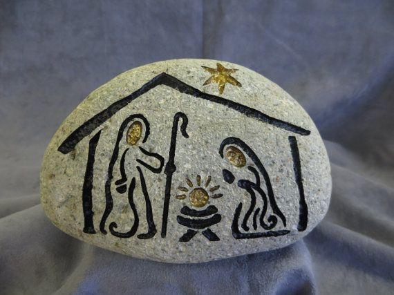 NATIVITY STONE  Engraved Natural Stone One of a by SandStudios, $25.00