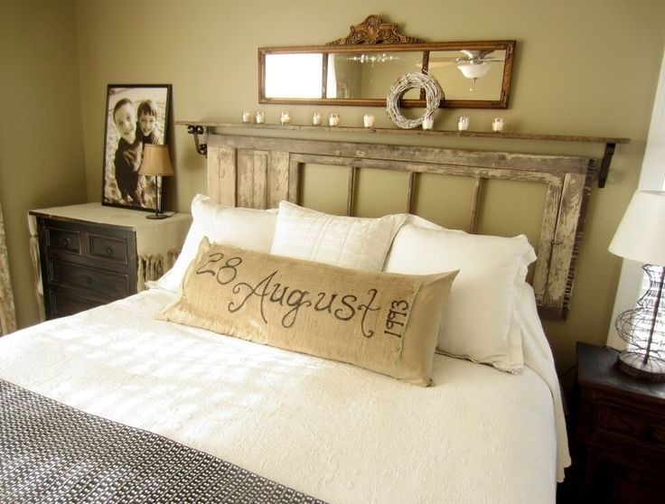 Reclaimed Door Turned Floating Headboard