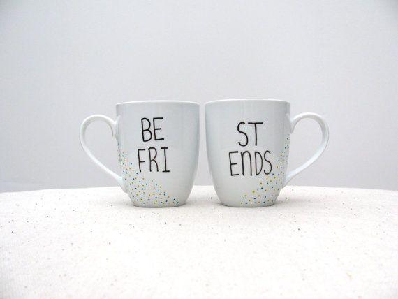 "Best Friend Mugs - ""Be Fri"" and ""St Ends"" Mug Set of 2 - Bestie Mug - Friends Forever Coffee Cup"