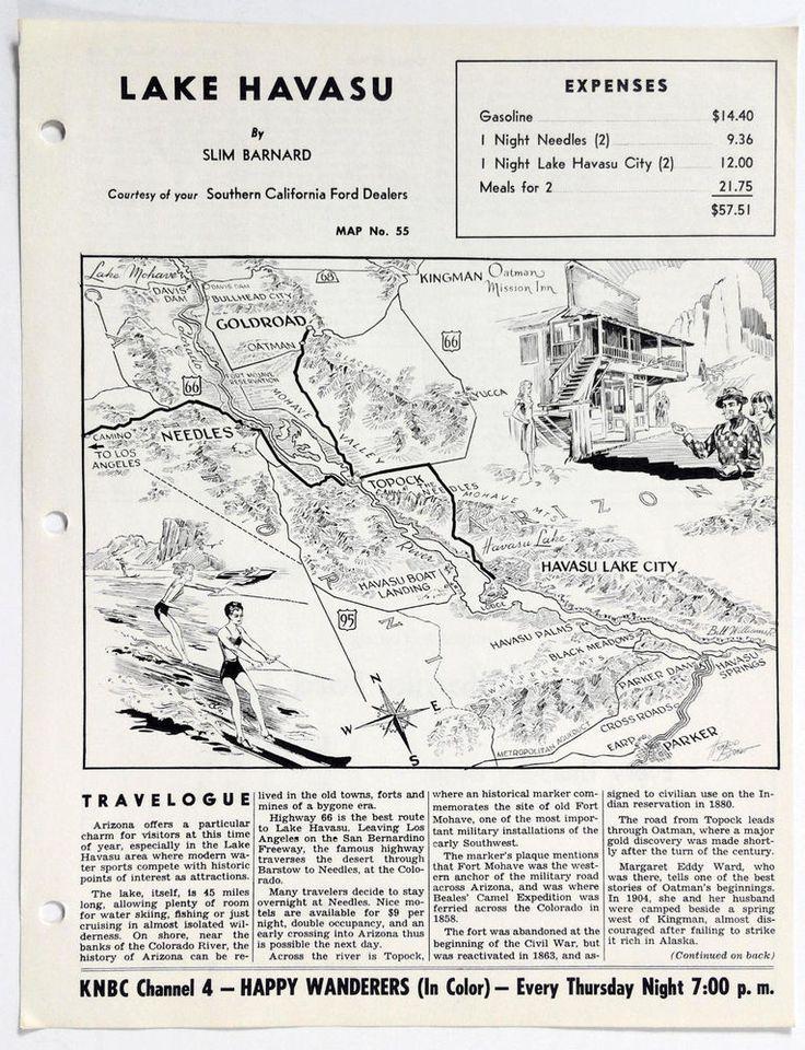 1960's LAKE HAVASU Arizona Happy Wanderers Travelogue Slim Barnard Map KNBC 4