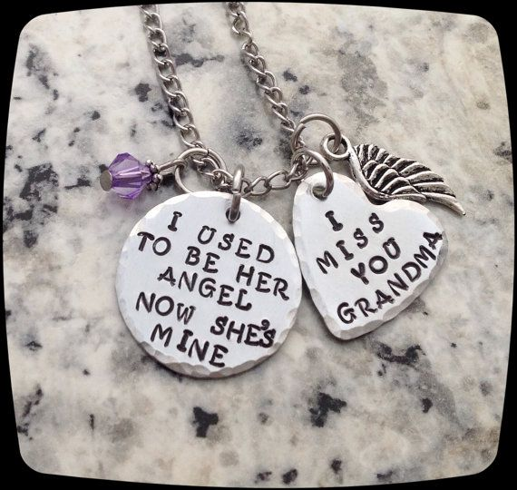Loss of Grandma gift, Memorial Jewelry, I used to be her angel now she's mine, Remembrance Necklace,  Loss of Mom,  Funeral Gift