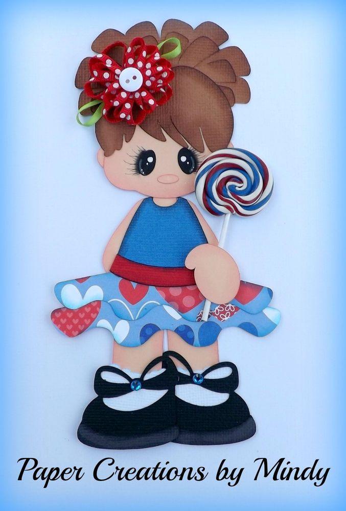 ELITE4U lollipop girl kids summer premade paper piecing scrapbooking page album  ~paper creations by mindy
