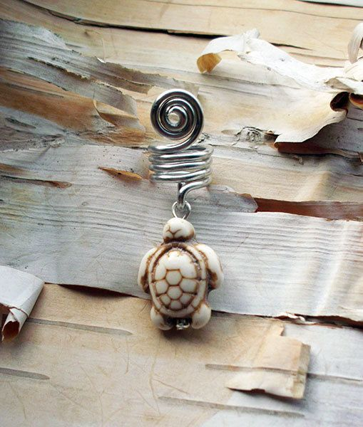 White Bone Colored Turtle Stone Silver Dread Charm Dreadlock Accessory Extension Accessories Dread Boho Bohemian Hippie Bead