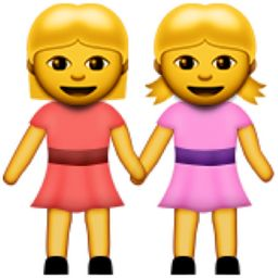 Two Women Holding Hands Emoji (U+1F46D)