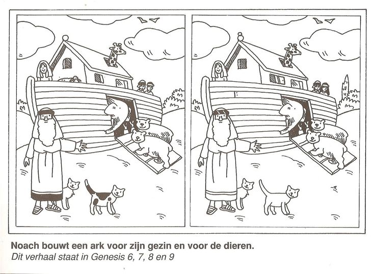 Noah builds an ark for his family and for the animals find the 10 differences