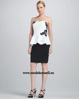 Knielanges Abendkleid in Weiß Schwarz