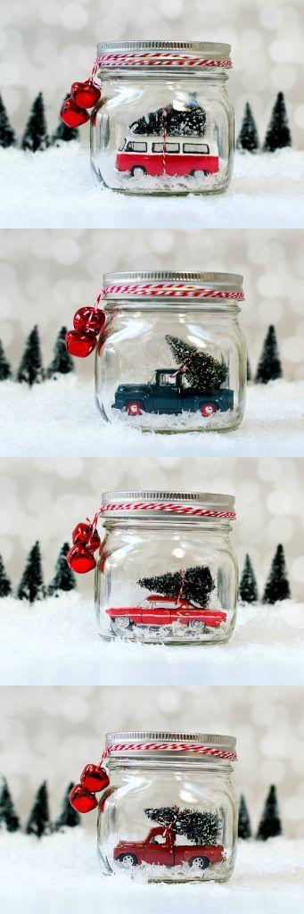DIY Mason Jar Snow Globes Car in Jars