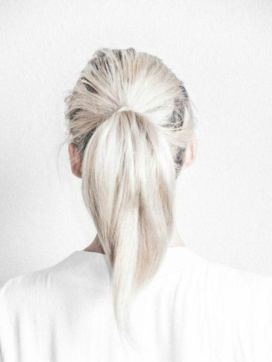 white blonde + ponytail