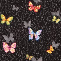 dark blue-purple cotton printed oxford fabric colorful flower leaf from Japan - Flower Fabric - Fabric - kawaii shop modeS4u
