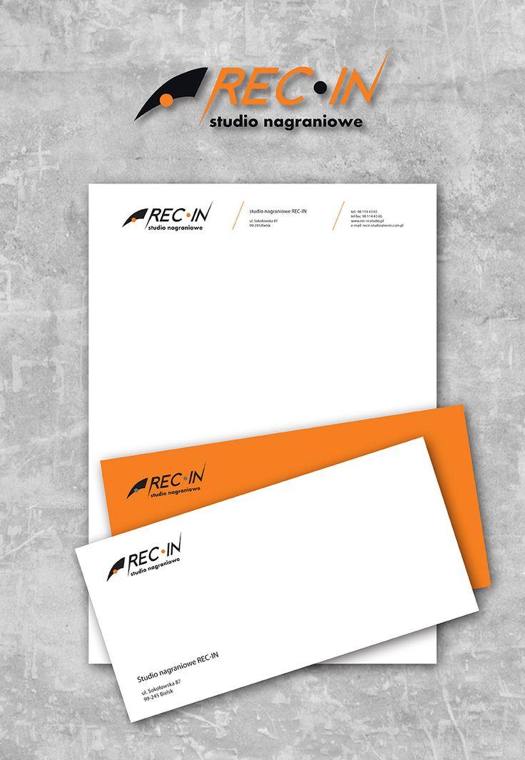 stationary + envelope for Recording Studio REC-IN. school project #orange #black #envelope #businesscard #recording