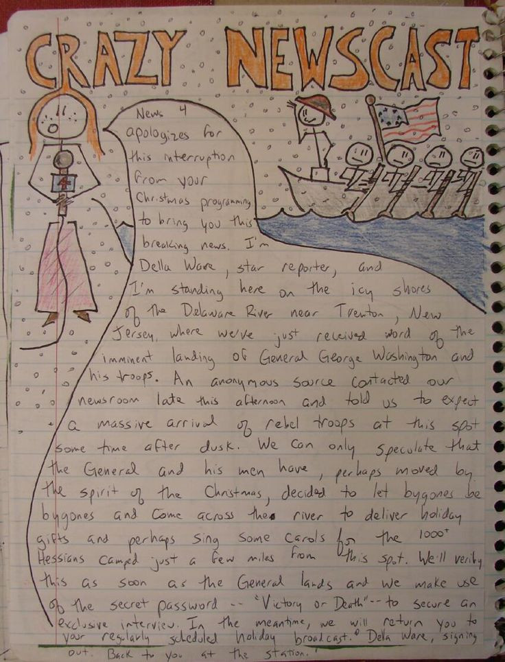 """NEWS REPORT NOTEBOOK PAGE: A fun idea for a writing across the curriculum Notebook Page: News reporters begin the breaking news story with something like, """"We interrupt our regular broadcast to bring you an important message."""""""
