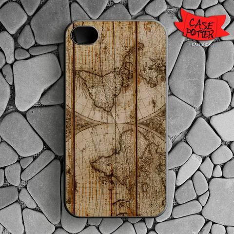 Old World Map Wood iPhone 4 iPhone 4S Black Case