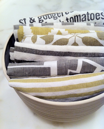 Dishtowels, Stacked in a bowl