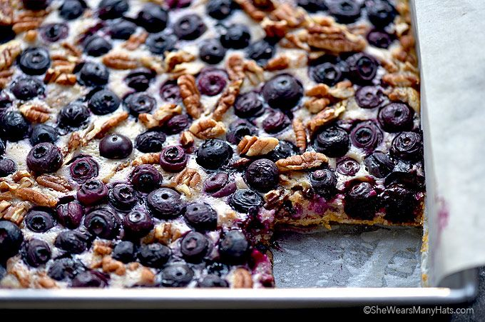 Fresh blueberries, oatmeal, lemon and nuts combine to create these delicious Oatmeal Lemon Blueberry Bars. The perfect sweet treat!