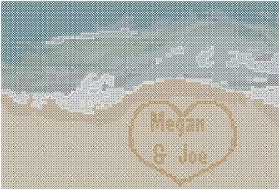 Cross stitch Pattern Beach Sand and Waves by oneofakindbabydesign