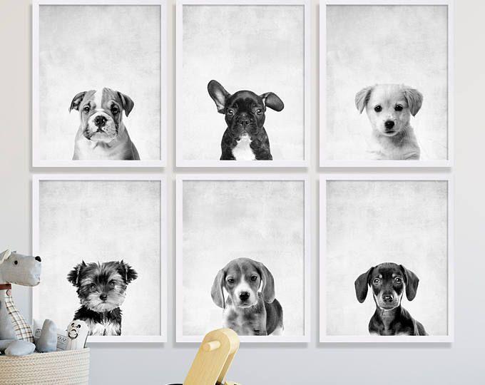 Zes Puppy hond Prints dier kwekerij Art Franse Bulldog Lab Yorkie Jack Russel teckel hond portretten schattig kwekerij Decor kwekerij kamer ideeën