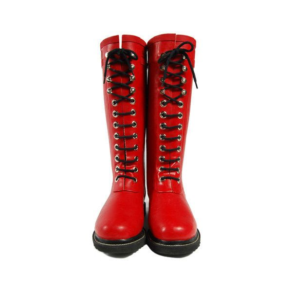 Ilse Jacobsen Hornbaek Tall Lace Up Rainboot Rub1-Red (£55) ❤ liked on Polyvore featuring shoes, boots, botas, women, knee-high boots, red knee high boots, rain boots, tall rain boots, red rubber boots and tall boots