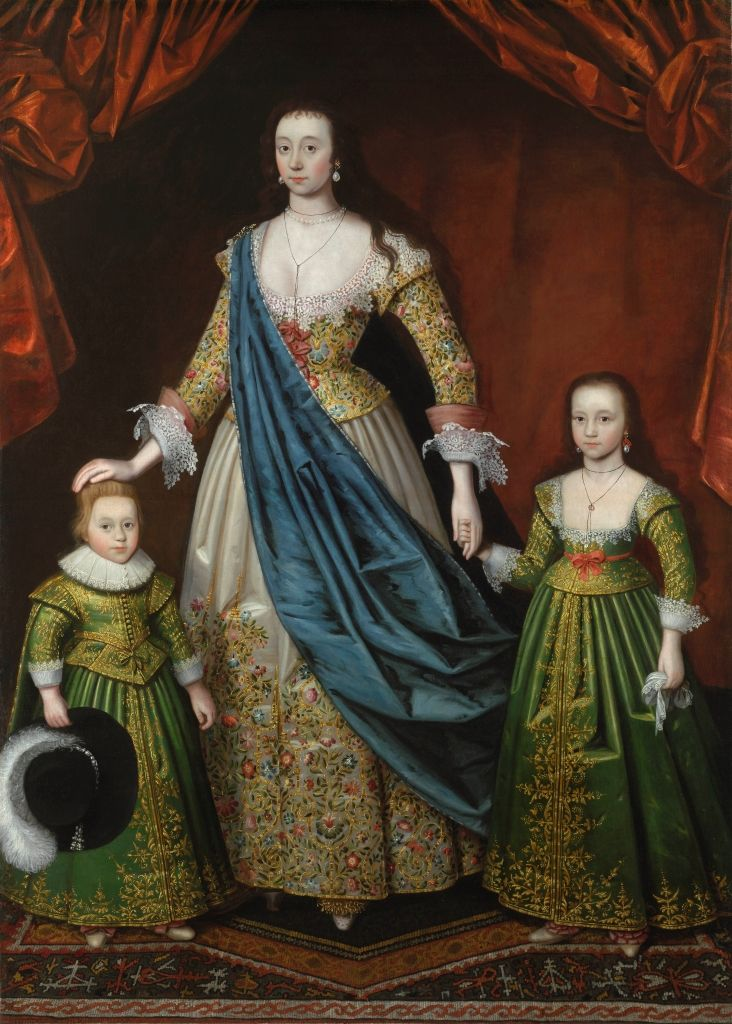 Lady Elizabeth Pope, wife of Sir William Pope (1596 – 1624), with her eldest son Thomas, later 2nd Earl of Downe (1622 – 1660) and eldest daughter Anne (b1617)   The Weiss Gallery