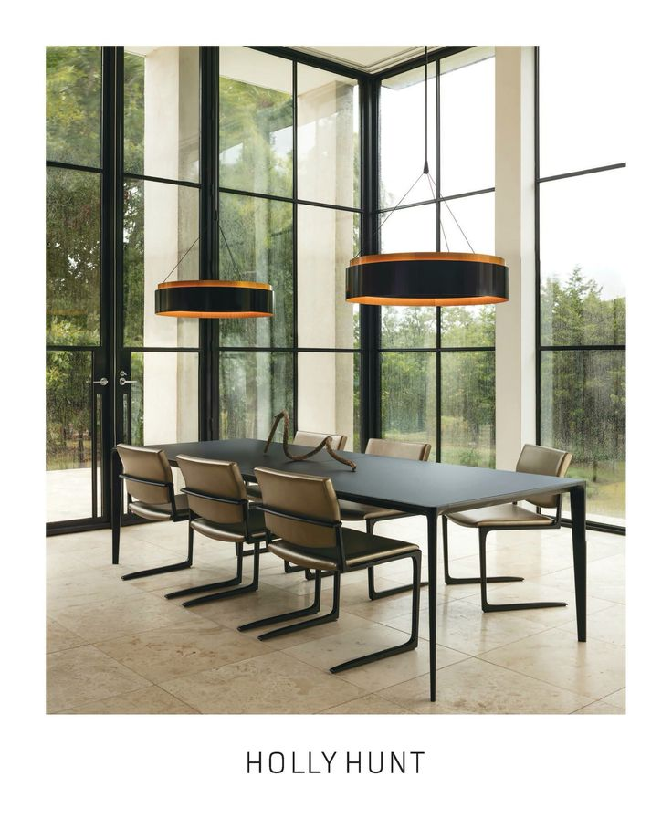 Holly Hunt Design Shadow Dining Table And Chairs Ember Hanging Lamps