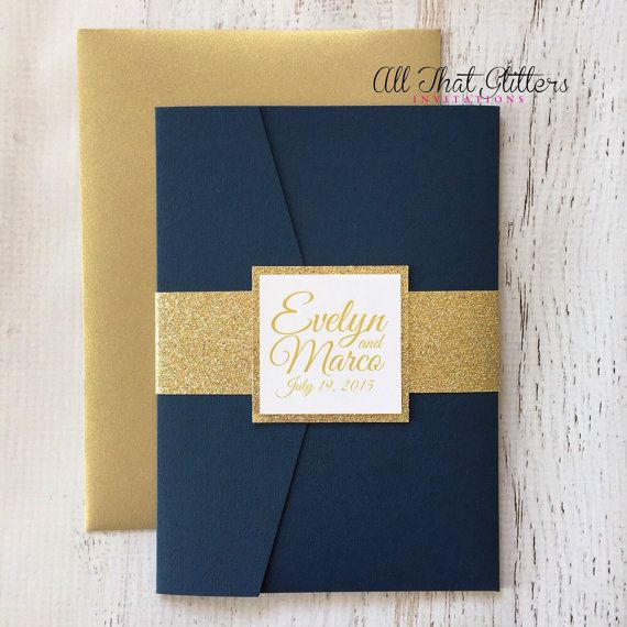 Navy Wedding Invitation set | Navy Wedding Invites | Gold Wedding Invitations | Glitter Wedding Invitation suite | Any Color Custom | Evelyn