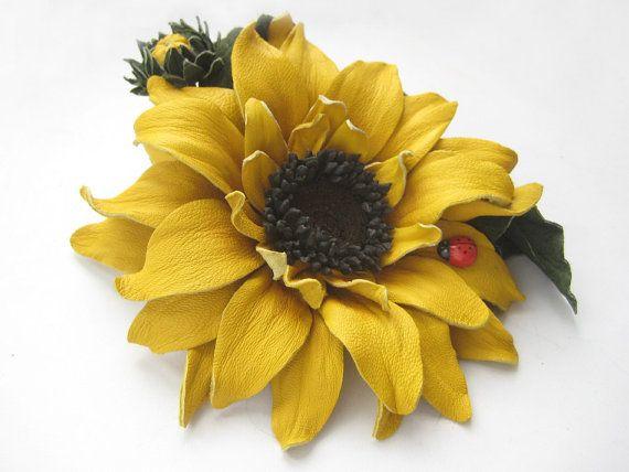 Decoration for womenleather flowersunfloweryellow by IrinaPremium, $68.00