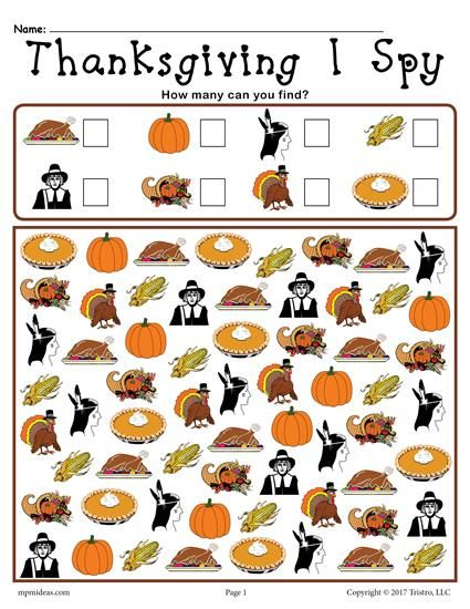 FREE Printable Thanksgiving I Spy Counting Worksheet! Counting worksheets like this are great for preschool and kindergarten. Get the free Thanksgiving worksheet here --> https://www.mpmschoolsupplies.com/ideas/7806/thanksgiving-i-spy-free-printable-thanksgiving-counting-worksheet/