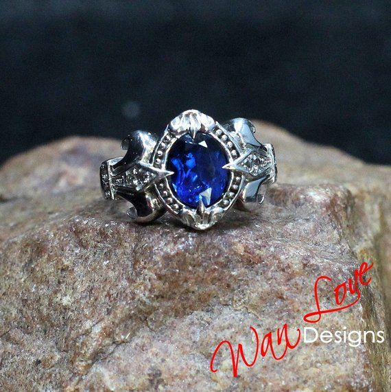 Mens Blue Spinel White Sapphire Ring Or Wedding Band Engagement
