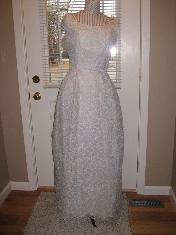 années 1960 Womens Blush/Champagne rose et lumière bleu/vert robe formelle / bal/Special Occasion taille s-m / robe de demoiselle d'honneur robes/Party