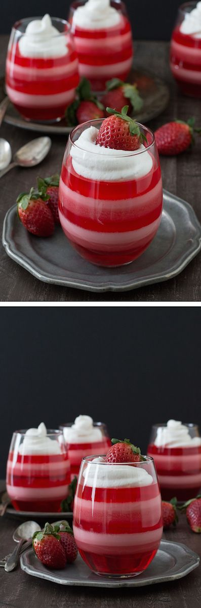 @mapletw - Maybe like Jello 1-2-3? Layered Strawberry Jello Cups - a fun jello dessert to make for Valentine's Day!