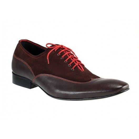 Pánsky vrchol elegancie kožená obuv prešívaná červenou niťou doplnená hnedým zvrškom z brúsenej kože a červenými šnúrkami - fashionday.eu