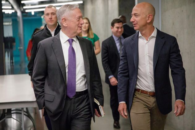 Pentagon chief James Mattis meets with Amazons Jeff Bezos during West Coast tech (and sub) tour Defense Secretary James Mattis chats with Amazon founder Jeff Bezos during a Seattle visit. (Jeff Bezos via Twitter)  Amazons billionaire founder Jeff Bezos played host to Defense Secretary James Mattis today during his swing through high-tech hot spots (and military facilities) on the West Coast.  A pleasure to host #SecDef James Mattis at Amazon HQ in Seattle today Bezos wrote in a tweet.  The…