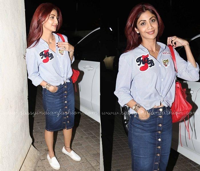 Celebrities in Denim Skirt and Shirt, Shilpa Shetty in Denim Skirt, How To Style Denim Skirt with Shirt.