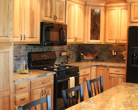Kitchen black appliances hickory cabinets frannie for Traditional kitchen appliances