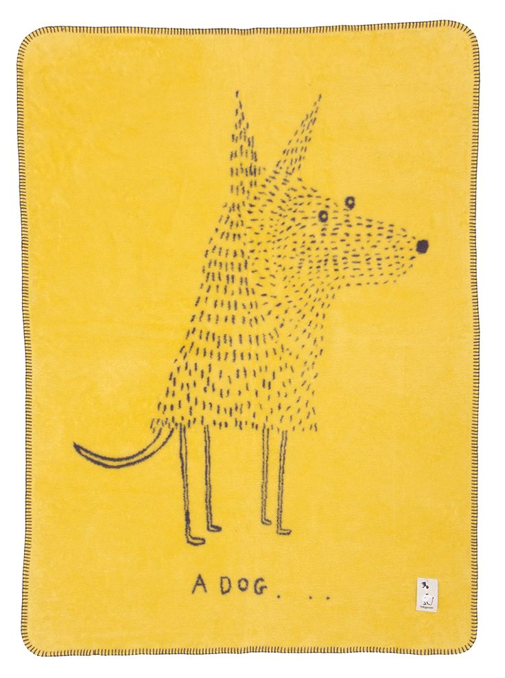 Baby organic cotton blanket in modern colors and Dog design