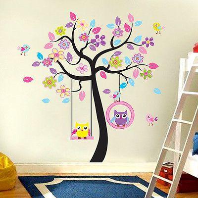 Vintage Wandtattoo Wandsticker Deko Tiere Kinder ZooYoo Wald Eule Baum Kinderzimmer XXL