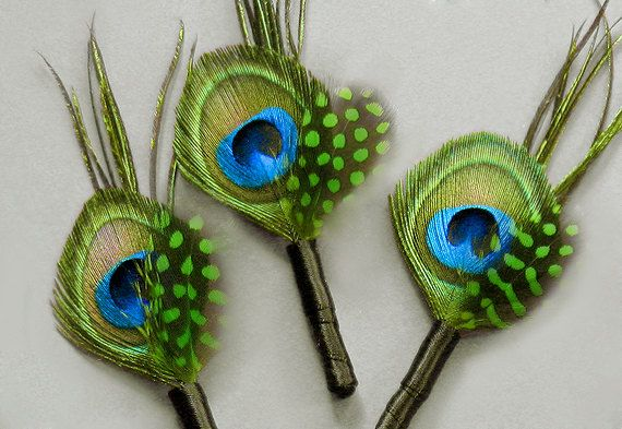 10 Etsy Kelly Green Peacock Boutonnieres Boutineers guinea feathers accessories for men