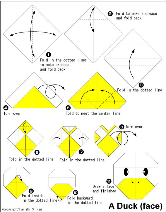 Origami de la cara de un pato.