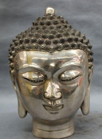 Оптовая продажа фабрики 12 Тибет Тибетский Серебряный Буддизм Фо Шакьямуни Будда шакьямуни Голова Статуи