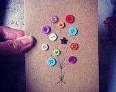 Items similar to Carte de voeux fait main - bouton ballons on Etsy