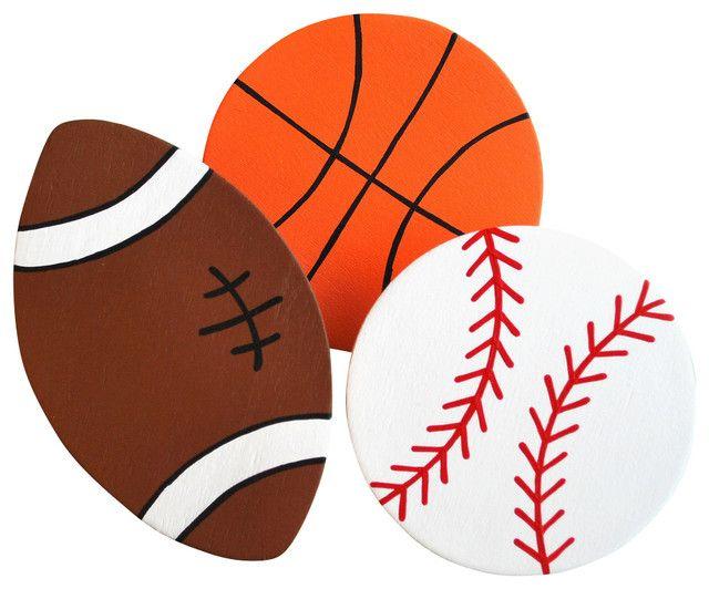 Set Of 3   Baseball Basketball Football Contemporary Kids Wall Decor