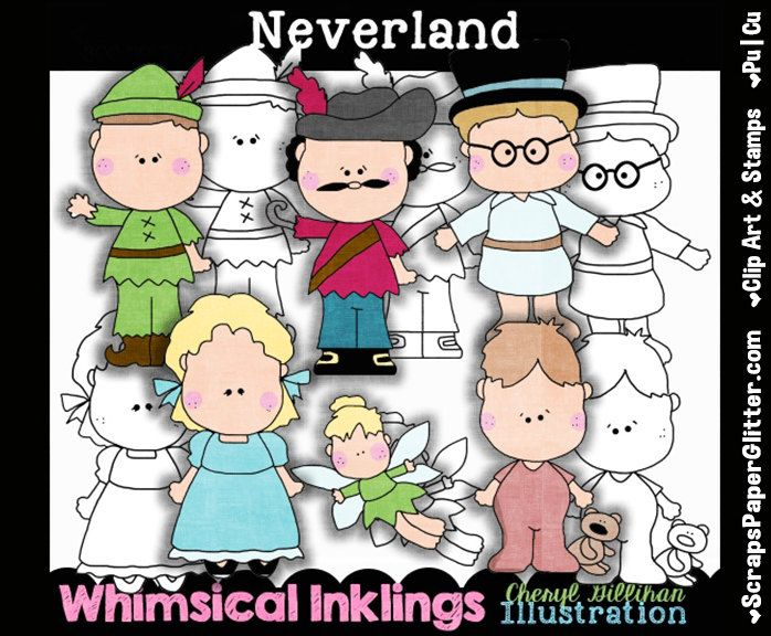 Neverland Clip Art, BONUS Lineart, Commercial Use, Digital Stamps, Clipart, Black & White, Storybook, Fairy Tale, Peter Pan, Wendy,  Hook by ResellerClipArt on Etsy