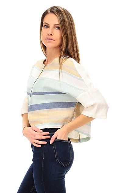 Kocca - Giacche - Abbigliamento - Bolero in lino a righe con manica ampia a tre quarti. Chiusura con bottoni a pressione a scomparsa. - F7011 - € 97.54