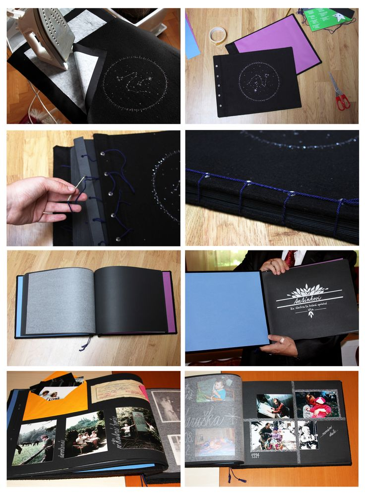 Homemade photo album no. 4. First one I´m actually proud of :) Embroidered cloth cover with cloth fasteners, black paper with baking paper in between. Easy to open :)) DIY