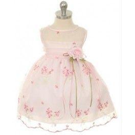 Organza jurkje voor bruidsmeisjes in de kleur roze met romantische bloemen