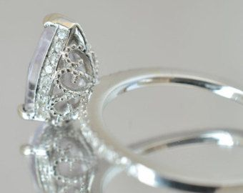 Semi mount gold ring, here in white gold engagement ring, diamonds engagement ring MELANI,  setting only
