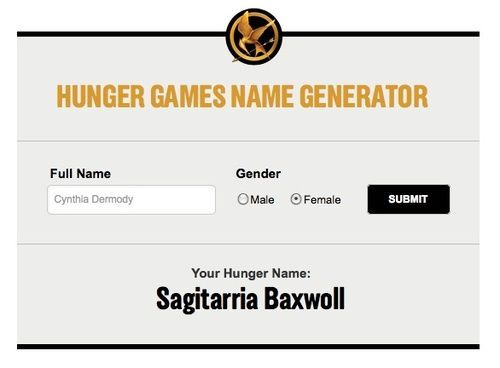 hunger games name generator: I ended up with Auricula Rosehearty, Silka Roxen, and Zipporah Vipointe. I think I like Zipporah Vipointe although Auricula Rosehearty isn't too bad