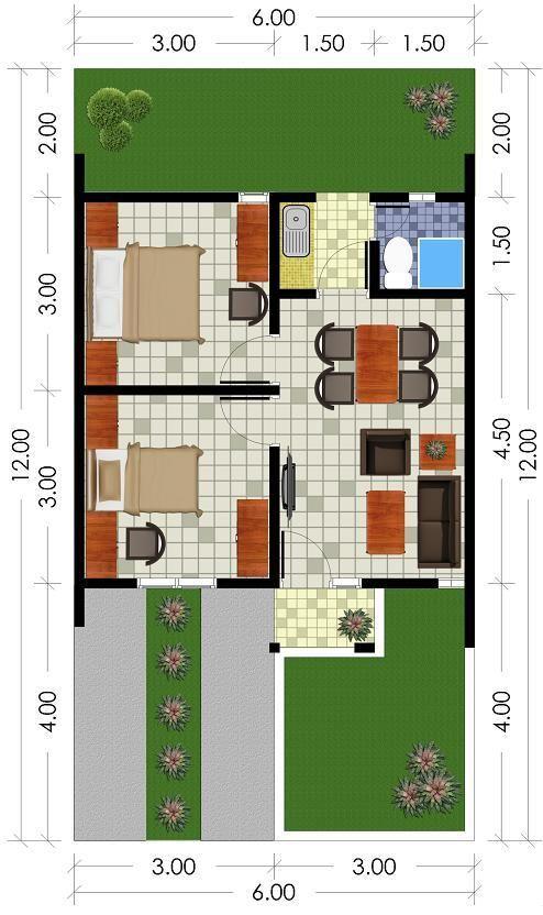 25 Contoh Denah Rumah Minimalis Type 36 Berbagai Model ...