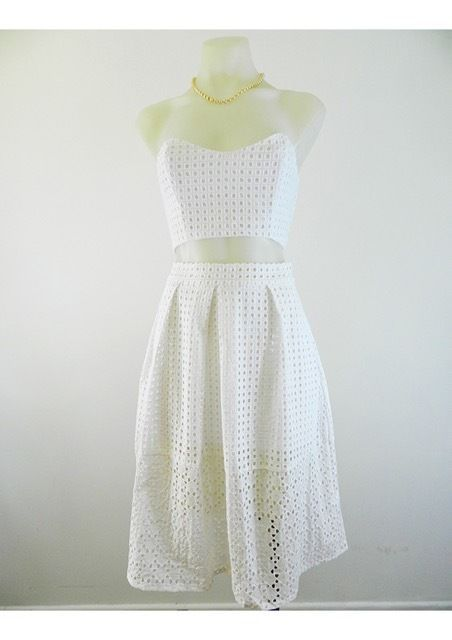 White Strapless Crop and Skirt Set by Ava